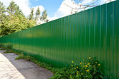 New galvanized fence — Stock Photo