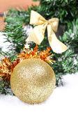 Christmas ball on new year tree — Stock Photo