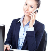 Success business woman talking on the phone — Stock Photo