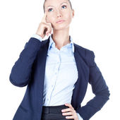 Thinking business woman on white background — Stock Photo