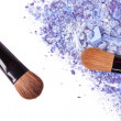 Stock Photo: Crumbled eyeshadow with brush