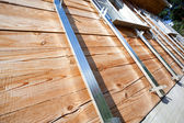 Building house, installation of galvanized crate — Stock Photo