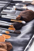 Professional makeup brushes in compact case — Stock Photo