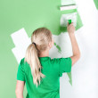 Stock Photo: Woman paints the wall