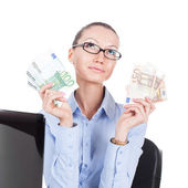Businesswoman  with euro banknotes in hands — Stock Photo