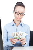 Business woman with euros in hands — Stock Photo