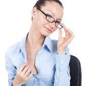 Flirting businesswoman on workplace  — Stock Photo
