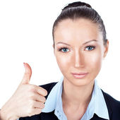 Businesswoman gesturing with a thumbs up — Stock Photo