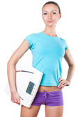 Diet and sport concept -  woman with scale — Foto de Stock