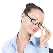 Flirting businesswoman on workplace  — Stock Photo