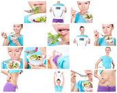 饮食和运动的拼贴 — 图库照片
