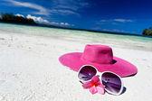 Cappello rosa estate sulla spiaggia con gli occhiali da sole e plumeria — Foto Stock