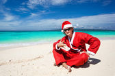 Hot Happy Chistmas on beach — Stock Photo