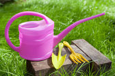 Garden tools on green grass — Stock Photo