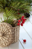 Season autumn card, pine branch in small basket — Stock Photo