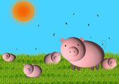 Pig with small pigs — Stock Photo