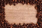 Kávová zrna rámec — Stock fotografie