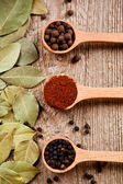 Three kinds of pepper and bay leaves — Stock Photo