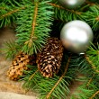 Christmas fir tree with decoration — Foto Stock