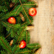 Christmas fir tree with pinecones and apples - Stock Photo