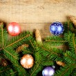 Fir tree with pinecones and decorations - Stock Photo