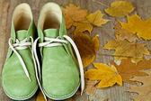 çift yeşil deri çizme ve sarı yapraklar — Stok fotoğraf