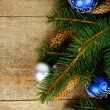 Stock Photo: Christmas fir tree with pinecones and decorations
