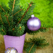 Royalty-Free Stock Photo: Christmas fir tree and purple decorations