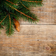 Stock Photo: Christmas fir tree with pinecones, apples and decorations
