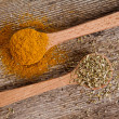 Stock Photo: Two spices in wooden spoons