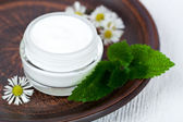 Container with cream urtica and chamomiles — Stock Photo
