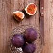 Fresh figs and old knife - Stock Photo