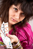 Soothsayer with scrying cards — Stock Photo