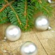 Stock Photo: Christmas decorations and fir tree