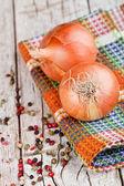 Pimenta e cebola fresca — Foto Stock