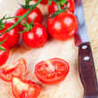 Stock Photo: Fresh tomatoes and old knife