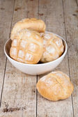 Fresh baked buns in a bowl — Stock Photo