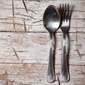 Vintage spoon and fork — Stock Photo