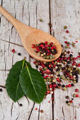Mixture of peppers in spoon and bay leaves — Stock Photo