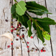 Twig of fresh laurel and peppercorns — Stock Photo