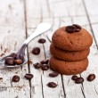 Chocolate cookies and coffee beans — Stock Photo