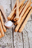 Bread sticks grissini with rosemary and salt — Stock Photo