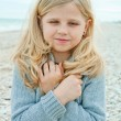 Stock Photo: Girl at autumn beach