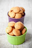 Meringue almond cookies in bowls — Stock Photo