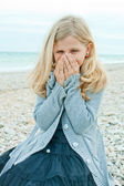 Pretty girl at the autumn beach  — Stock Photo