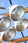 Lamps in modern glass cieling — Stock Photo