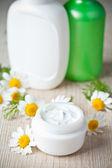 Cosmetics and chamomiles — Stock Photo