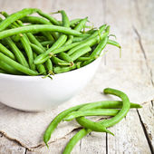Green string beans in a bowl  — Stock Photo