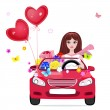 Happy girl with gifts by car — Stock vektor