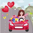Happy girl with gifts by car — Imagen vectorial